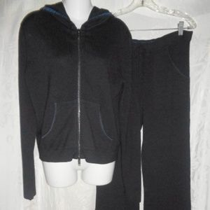 BURBERRY Black Cashmere Logo Hoodie Sweats M $800